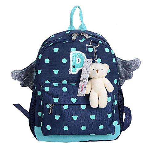 Kids Backpack Girls School Bag Daypack Wing with Teddy Bear Elementary (Navy)