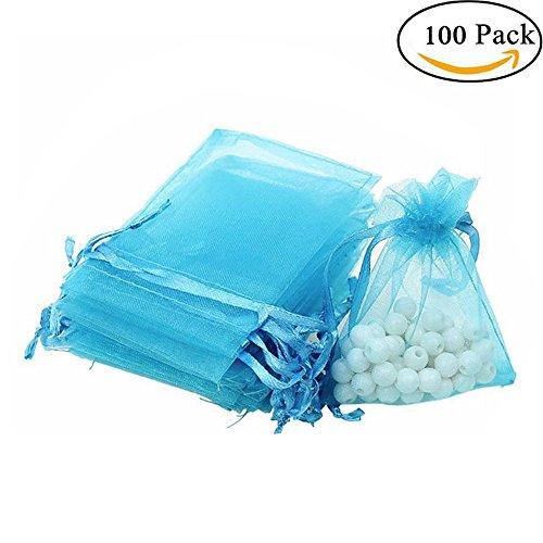 Sackorange 100Pcs 4x6' 10x15cm Sheer Drawstring Organza Jewelry Pouches Wedding Party Christmas Favor Gift Bags (blue)