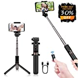 Agedate Selfie Stick Tripod with Bluetooth Remote,4 in 1 Mini Portable Extendable Monopod Aluminum Alloy 360 Degree Rotation Selfie Stick for IOS and Android Device