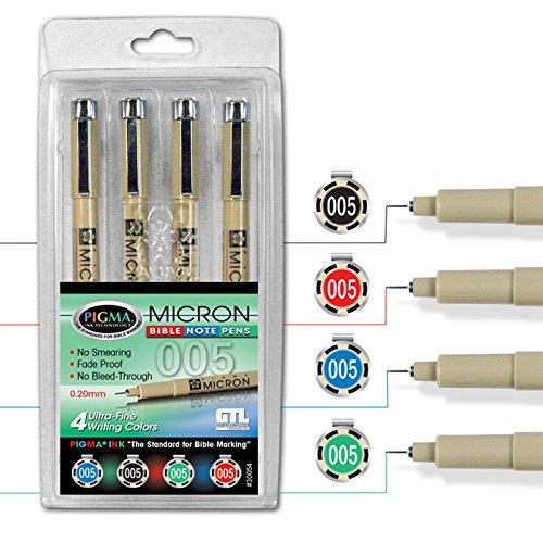 - Pigma Micron 005 Ultra Fine Point Bible Note Pen Kit (Set of 4)