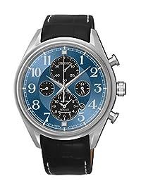 Seiko Men's SSC209 Solar Chronograph Leather Strap Watch