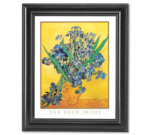 Vincent Van Gogh Irises Vase Flower Wall Picture Framed Art