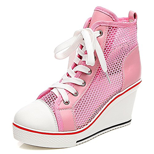 - Smilety Women's Sneaker Fashion Canvas High-Heeled Shoes Lace UP Wedge Pump Shoes (10 B(M) US, Pink 3)