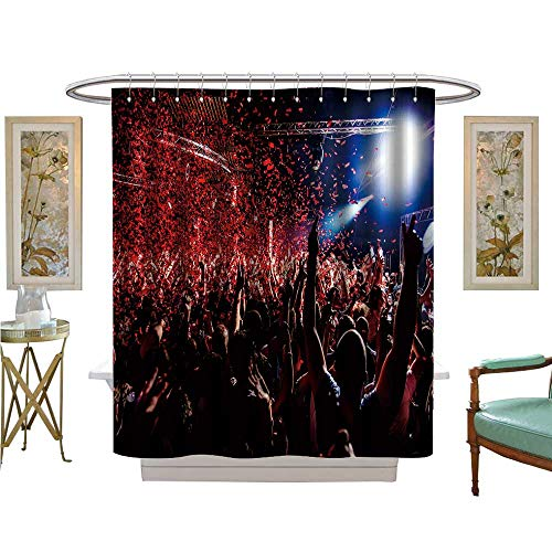 luvoluxhome Shower Curtains Fabric Extra Long Nightclub Party clubbers withs in air and red Confetti Bathroom Decor Sets with Hooks W48 x -