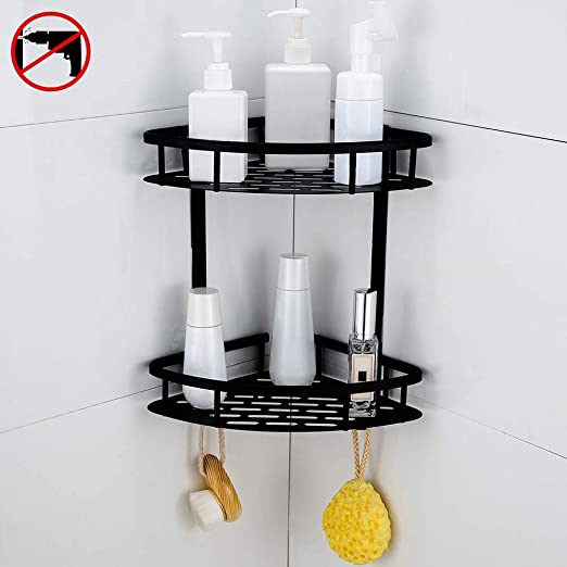 Gricol Bathroom Adhesive Shelf Shower Caddy Shampoo Holder No Drilling Wall Mounted 2 Tiers