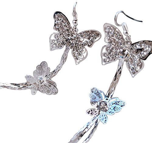 Double Layers Butterfly Rhinestone Long Tassels Hook Linear Earrings Women's New by Fashion (Butterfly Earrings Jewelry)