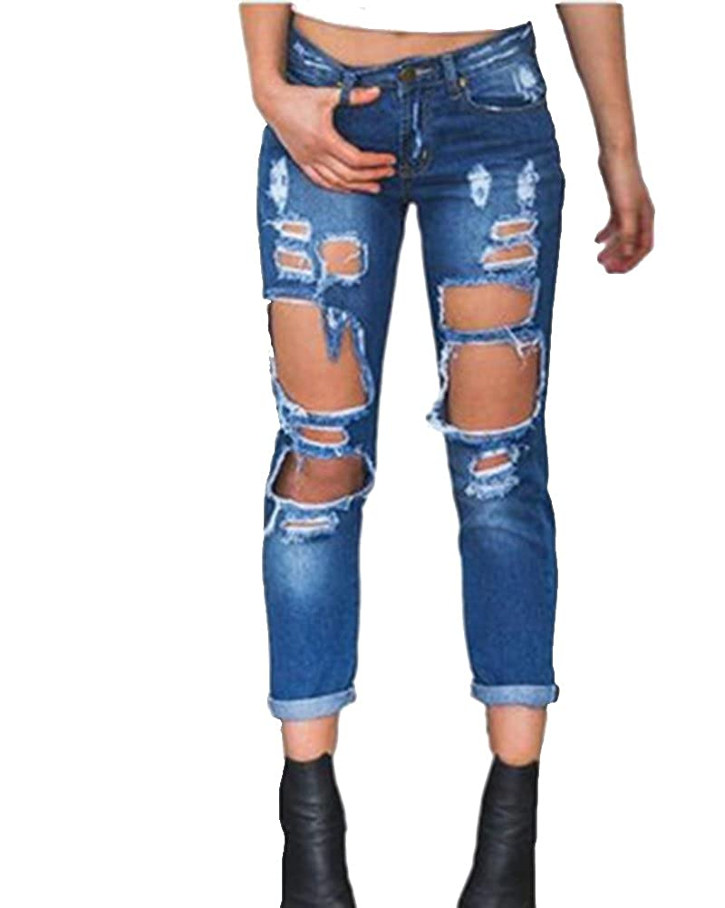 Kasen Jeans da Donna Distrutti Strappati Sigaretta Pantaloni