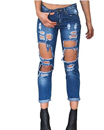 67e62ad5e58f3b Shaoyao Women's High Waisted Stretchy Distressed Denim Pants Ripped Skinny  Jeans at Amazon Women's Jeans store