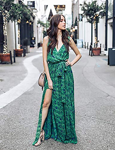 En Alta Cintura Noche JIZHI Mujer M Profunda Corte Swing Vestido Escote Green Maxi V BpCqp