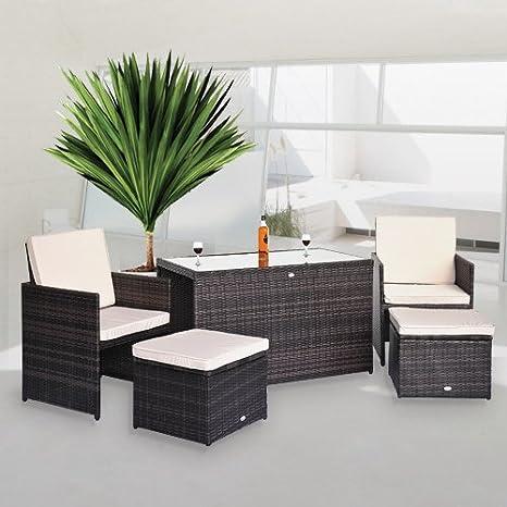 HOMCOM 08 - Conjunto de sillones y Mesa para jardín (Resina ...