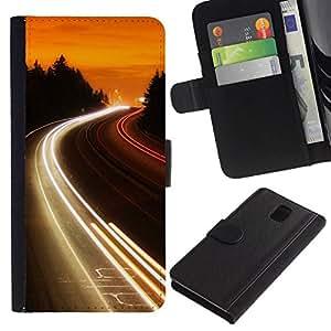 // PHONE CASE GIFT // Moda Estuche Funda de Cuero Billetera Tarjeta de crédito dinero bolsa Cubierta de proteccion Caso Samsung Galaxy Note 3 III / Highway Lights Glow /