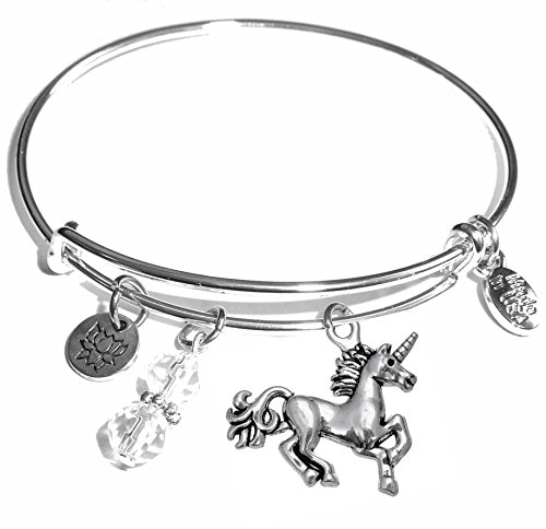 (Message Charm (84 Options) Expandable Wire Bangle Bracelet, in the popular style, COMES IN A GIFT BOX!)