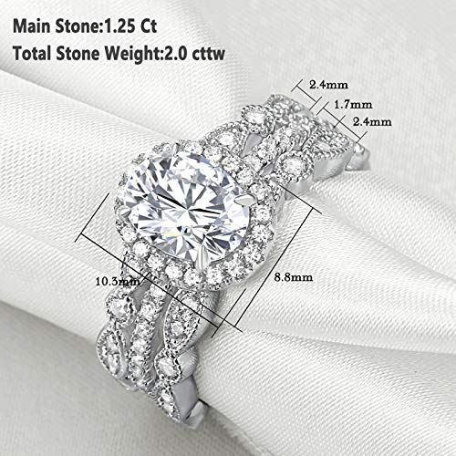 Newshe Jewellery Engagement Sets Wedding Rings for Women 925 Sterling Silver 3pcs White Cz Size 5-10 4