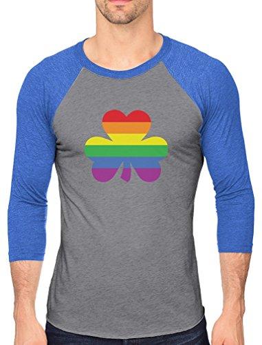St.Patrick's Lucky Charm Rainbow Clover Gay 3/4 Sleeve Baseball Jersey Shirt Large Blue/Gray