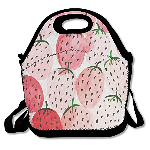 (ZGZGZ Pink Painting Strawberry Adjustable Straps Lunch Box Bag Tote Holder Suitable For Students And Working)