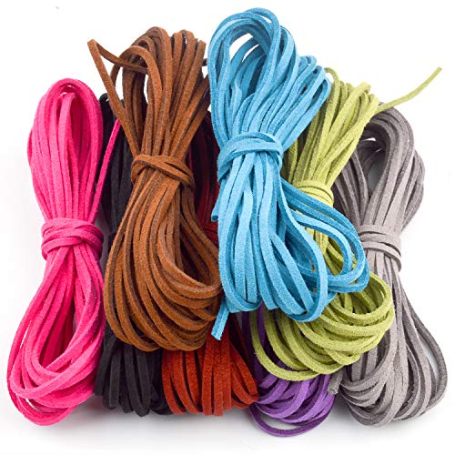 (Jdesun 3mm x 5m Leather Cord Suede String for Bracelet Necklace Beading Jewelry DIY Handmade Crafts, 8 Pieces, 8 Colors)