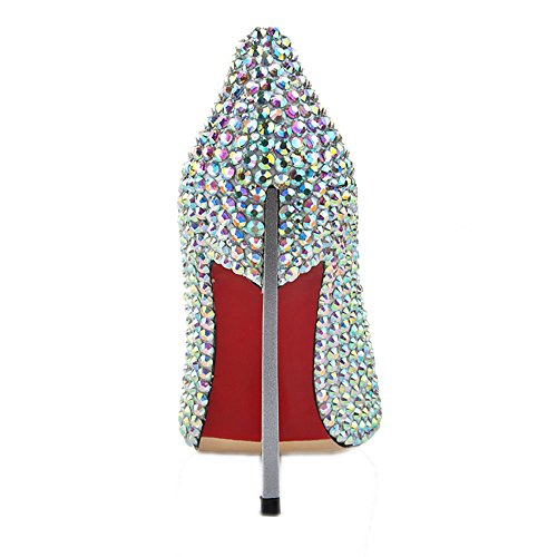 High Kristall Heels Metall Schuhe Elegant Lacitena Absatz Beaded qpFg6v
