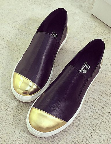 Eu39 Casual Uk6 De Zapatos Redonda Zq Sin Blanco Mujer Negro us8 Tacón White Punta Comfort Cordones Semicuero Exterior Cn39 Plano TPwqwUx5