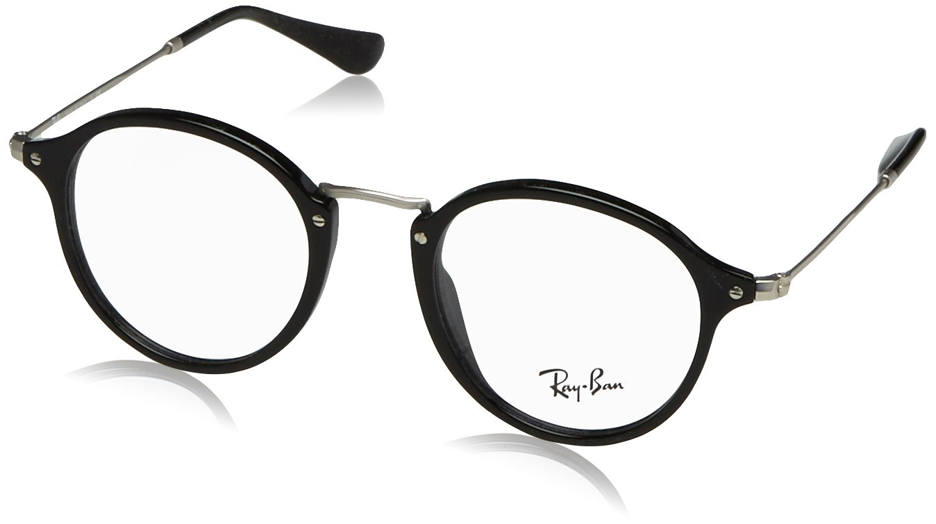 Ray-Ban Men's RX2447V Eyeglasses Shiny Black 49mm by Ray-Ban