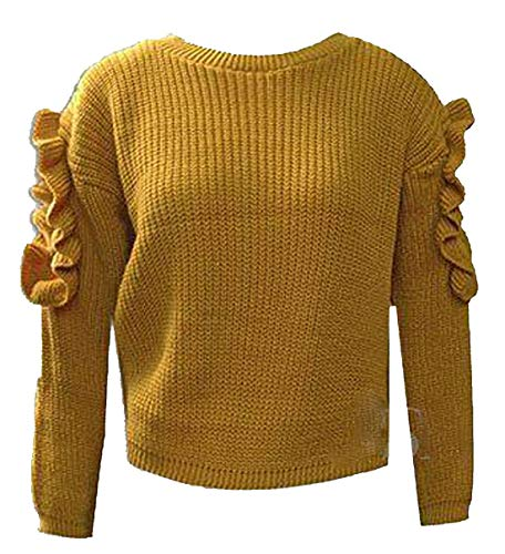 Moutarde Jaune Femme 21fashion Manches Pull Longues 7q7IXt