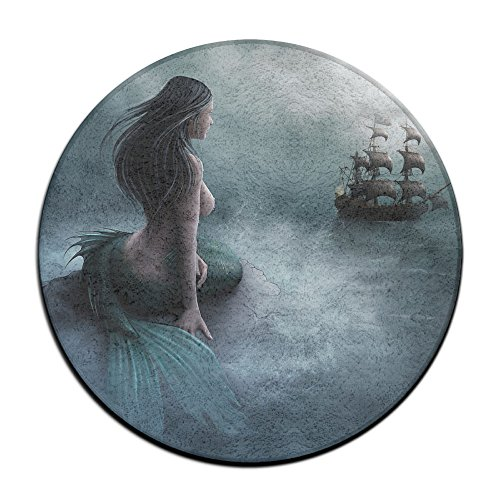 Mermaid Pirate Ship Round Area Floor Mats Entrance Entry Way Front Door Mat Ground 23.6 Inch Rugs For Decor Decorative Men Women Office by Homedecor
