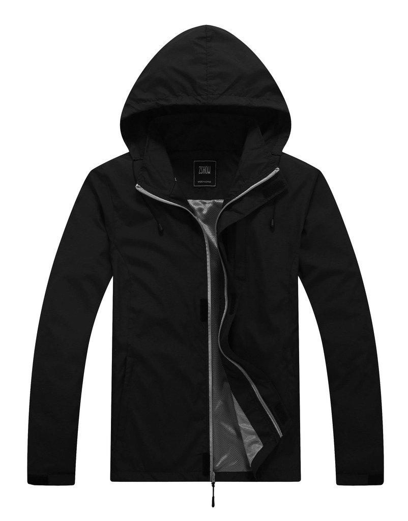 ZSHOW Men's Super Lightweight Windproof Camping Running Jacket Packable Mountain Jacket(Black,X-Large)