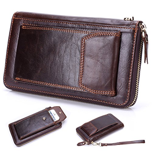 Lecxci Leather Business Clutch Handbag
