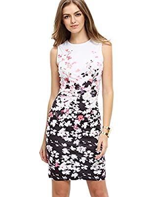 Floerns Women's Floral Print Sleeveless Split Cocktail Party Bodycon Dress