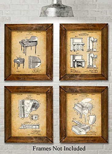 Original Piano Patent Art Prints - Set of Four Photos (8x10) Unframed - Great Gift for Piano Players