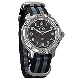 Vostok Komandirskie Russian Tank Forces Army Mechanical Mens Military Commander Wrist Watch #811306 (Black+Grey)