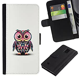 Billetera de Cuero Caso Titular de la tarjeta Carcasa Funda para Samsung Galaxy Note 4 SM-N910 / Pink Owl Art Colorful Cartoon Character / STRONG