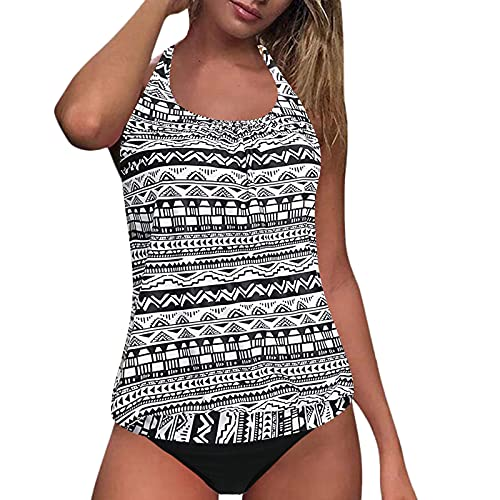Blouson Tankini Swimsuits for Women,Printed Casual Beachwear Tummy Control Two Piece Bathing Suits(Geometric White Black,S)