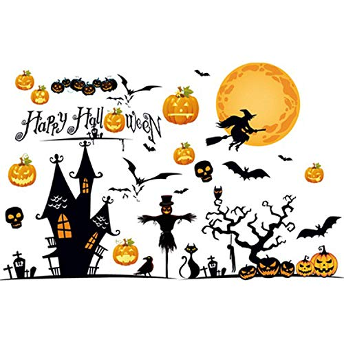 Eichzhushp Happy Halloween Pumpkins Spooky Cemetery Witch and Bats Tomb Wall Decals Window Stickers Halloween Decorations for Kids Rooms Nursery Halloween Party (Type 2)