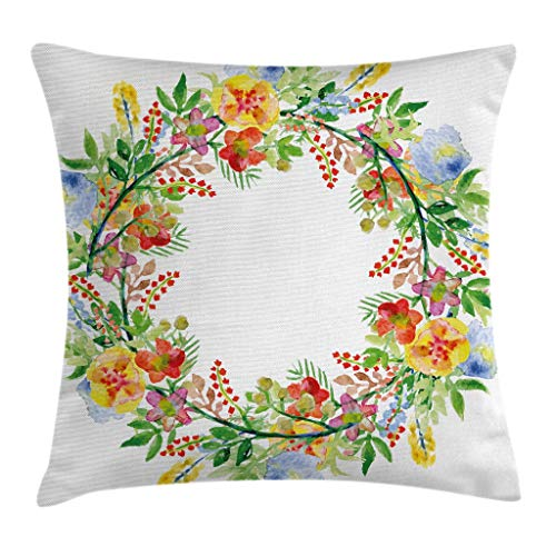 """Ambesonne Flowers Throw Pillow Cushion Cover, Romantic Watercolor Effect Floral Wreath Design with Spring Flowers Arrangement, Decorative Square Accent Pillow Case, 20"""" X 20"""", Green Blue"""