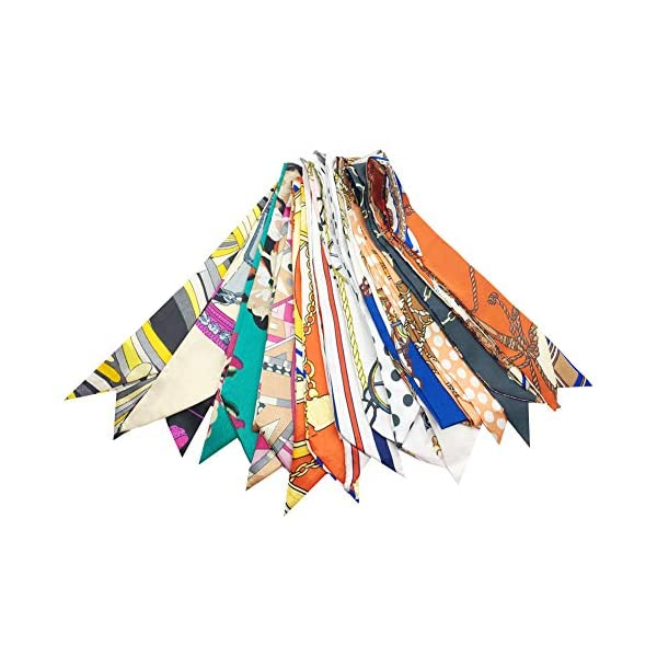 Multi Packs Narrow Handbag Handle Wrap Skinny Ribbon Neckerchief Scarf for Women