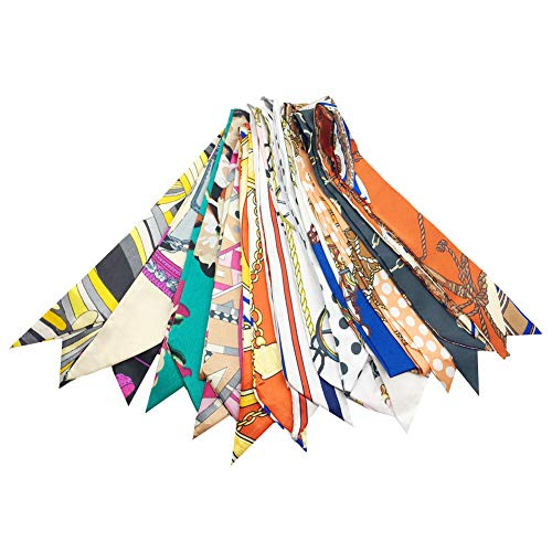 12 Packs Narrow Handbag Handle Wrap Ribbon Neckerchief Scarf for Women