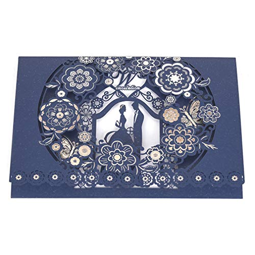 Jofanza 50 Laser Cut Floral Lace Wedding Invitation Navy Blue Invites Frame with Blank Paper Card and Envelopes Elegant Butterfly Flower for Bridal Shower Engagement Anniversary (50 Pieces)
