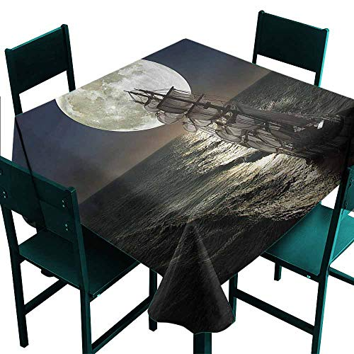 DONEECKL Oil-Proof and Leak-Proof Tablecloth Landscape Midnight Full Moon Ocean Party W63 xL63