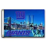 Home King NY Giants Skyline Flag Banner 3X5FT 100% Polyester,Canvas Head with Metal Grommet