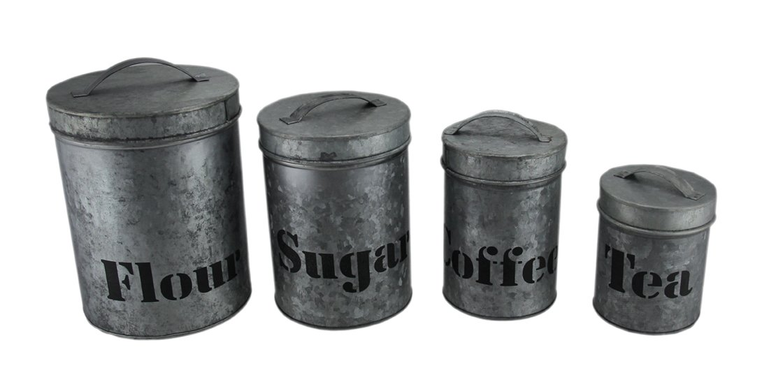 Zeckos Metal Canisters Galvanized Finish 4 Piece Metal Kitchen Canister Set 6.5 X 9 X 6.5 Inches Silver