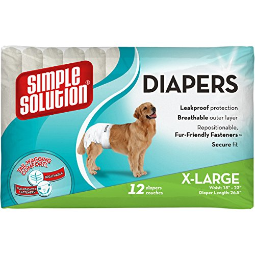 Dog Heat Diaper - Simple Solution Disposable Diapers for Dogs, Extra Large, Pack of 12