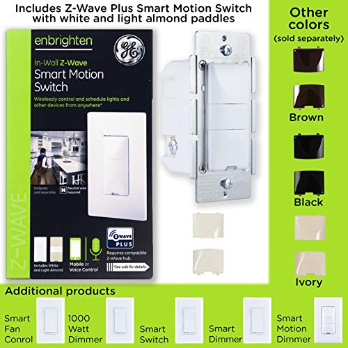 GE Enbrighten Z-Wave Plus Smart Motion Light Switch, On/Off, Vacancy/Occupancy Sensor, Includes White and Lt. Almond, Zwave Hub Required, Works with SmartThings, Wink, and Alexa, 26931, White & Light