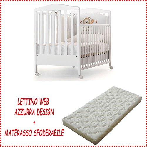 Kinderbett aus Holz Web Azzurra Design + Matratze abziehbar milbendicht weiß