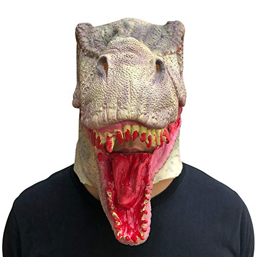 Choosebuy Bloody Dinosaur Mask for Halloween Christmas Party, Latex Melting Full Face Walking Dead Cosplay Masquerade Scary Mask Costume Party Accessories (A) -