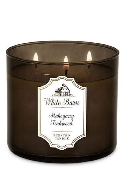 Amazoncom Bath Body Works White Barn 3 Wick Candle Mahogany
