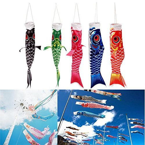 Decoration - 40cm Multicolor Koi Nobori Carp Wind Sock Koinobori Fish Kite Flag Hanging Decor - Koinobori Japanese Fish Windsock Wind Kite Windsocks Socks Carp Flag - Koi - -