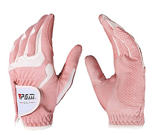 (PGM Women's Golf Glove One Pair, Improved Grip System, Cool and Comfortable (Pink White, M))