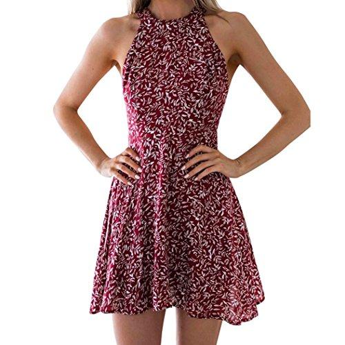 DongDong Hot Sale! Dress Bandages Floral Print Women Hanging Neck Dress Ladies Summer Party Dress