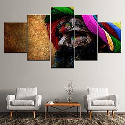 WJDJT 5 Piezas Lienzos Cuadros Pinturas Hombre Colorido Barba Creativo Impresiones En Lienzo Decoración para El Arte De La Pared del Hogar, Salón Oficina Mordern Decoración Artística