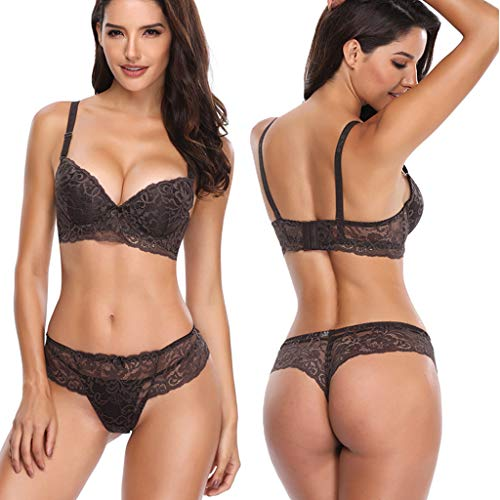 Dentelle Boyshort - ALLYOUNG Women's Fashionable Sexy Lace Underwear Contain Thong Gather Together Bra Suit (Gray, 85C)